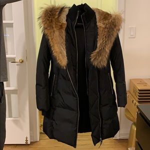 Mackage Trish Mid-Length Down Coat with Fur Hood